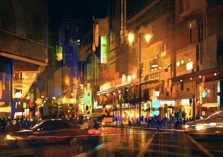 city street at night with colorful lights,illustration,digital painting