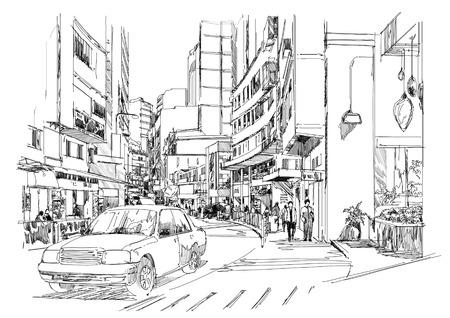 lijntekening: schets van de straat in de stad, stadsbeeld, illustratie, tekening