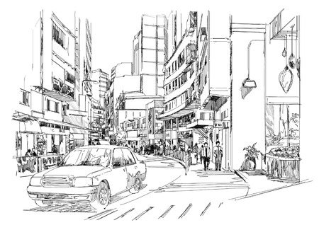 sketch of city street,cityscape,Illustration,drawing