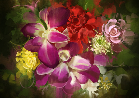 colorful still life: mixed colorful flower bouquet,illustration,digital painting Stock Photo
