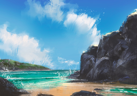 seascape: beautiful beach summer natural outdoor,illustration,digital painting