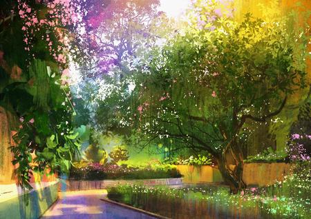 weg in een vredig groen park, illustratie, landschapsschilderkunst