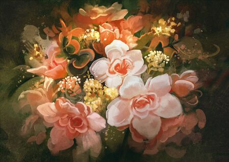 flower painting: beautiful flowers,color blooming,illustration,digital painting
