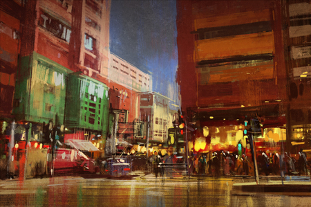 urban street: colorful painting of street city,urban,cityscape,illustration Stock Photo