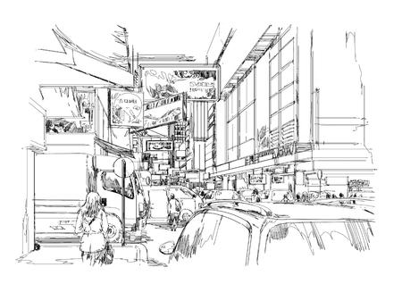 현대 도시, 도시의 거리, 그림의 손으로 그린 된 스케치. 스톡 콘텐츠
