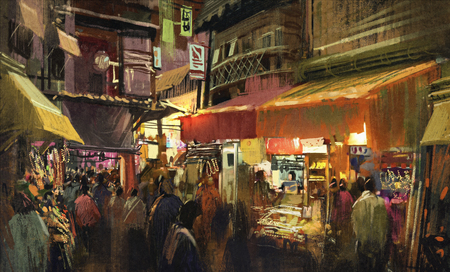 city at night: crowd of people walking in the market at night,digital painting
