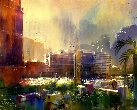 city view: beautiful city skyline view,watercolor style