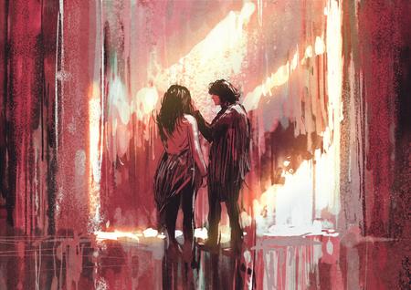 Jeune couple dans l'amour en plein air, illustration, peinture numérique Banque d'images - 61616396