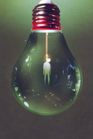 hanged: light bulb with the hanged man inside on dark background,illustration painting