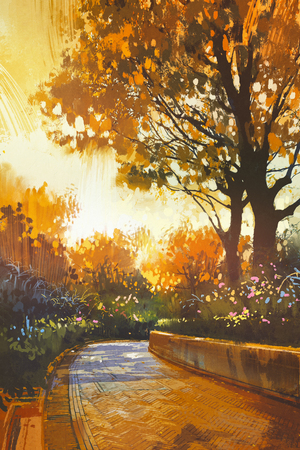 bright paintings: walkway in the park with colorful autumn trees,illustration painting