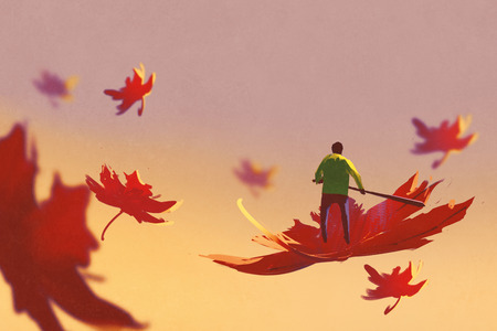autumn falling,small man rowing maple leaf floating in the sky,illustration painting