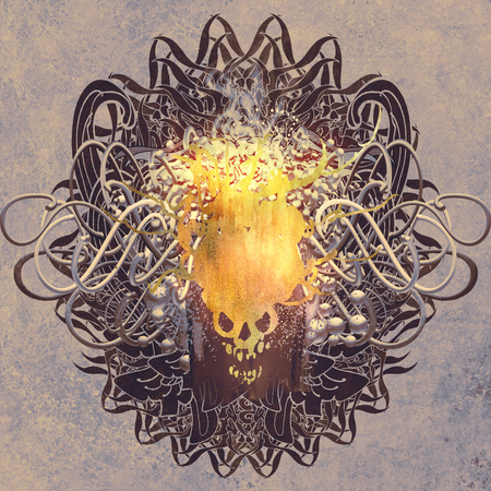 fire skull: fire skull on graphic background with grunge texture,illustration art Stock Photo