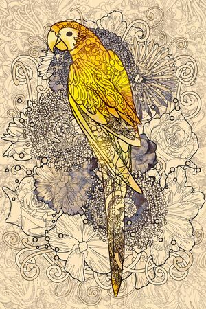sketch drawing: parrot line art with yellow colored on floral design element,illustration