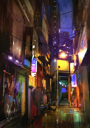 alley: painting of dark alley at night,illustration