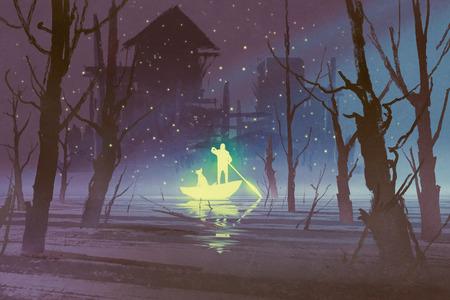 輝く人と絵画の図、夜に川で犬の手漕ぎボート