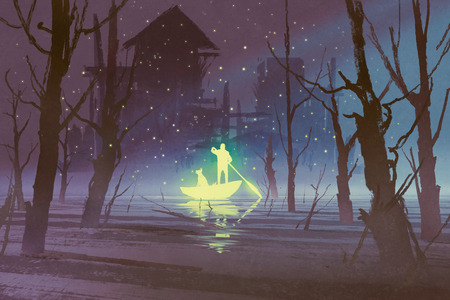 rowing boat: glowing man and dog rowing boat in river at night,illustration painting Stock Photo