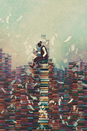 書籍、知識概念、絵画の図の山の上に座って本を読んでいる人