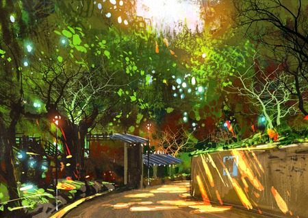 walkway: walkway in green park with sunlight,illustration painting