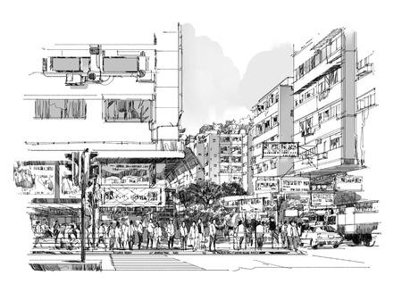 Hand gezeichnete Skizze der Stadtstraße, Stadtansicht, Zeichnung, Illustration. Standard-Bild
