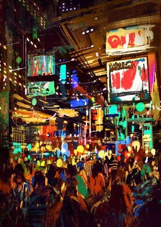 folla di persone in strada di notte, illustrazione pittura
