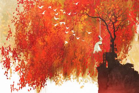 vrouw op een schommel onder herfst boom, illustratie painting