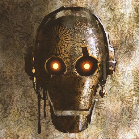ビンテージ ロボット頭部にテクスチャの抽象的な花柄背景で、絵画の図