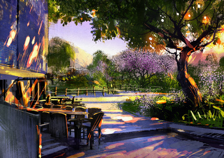 green park: walkway in green park with sunlight,illustration painting