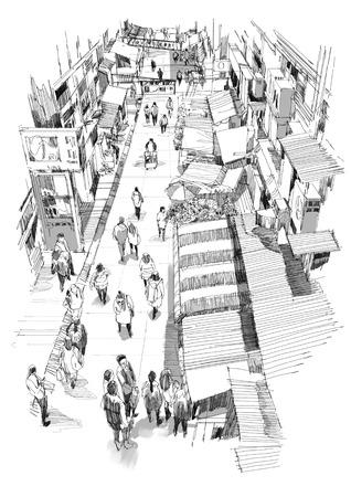 street market: hand drawn sketch of people walking in market street,Illustration,drawing Stock Photo