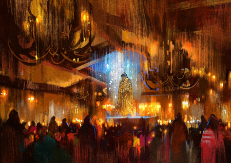 illustration and painting: crowd of people praying at holy night,illustration painting