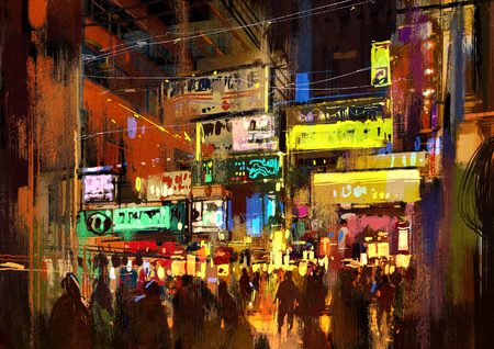 street night: crowd of people in night street,illustration painting