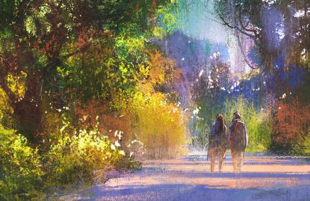 mujeres juntas: pareja caminando de un lugar bonito, paseo por los bosques, ilustración pintura Foto de archivo