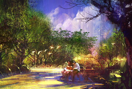 walkway: couple in beautiful place,walkway in park,illustration painting Stock Photo