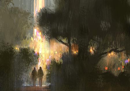 coppia a piedi nel parco della città di notte, illustrazione pittura