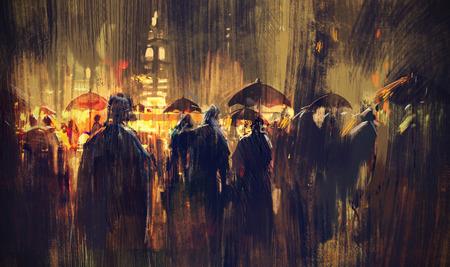 uomo sotto la pioggia: folla di persone con gli ombrelli di notte, illustrazione pittura