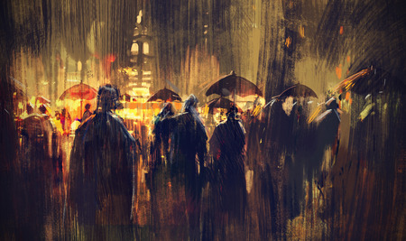crowd of people with umbrellas at night,illustration painting Stock Photo