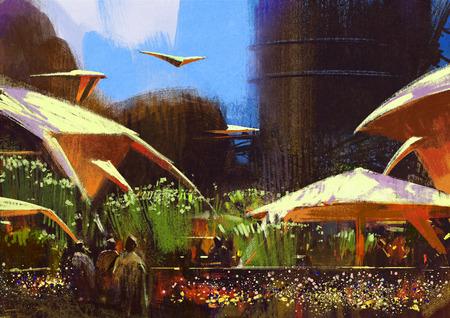pintura abstracta: pueblo con edificios de fantasía, paisaje, pintura ilustración Foto de archivo