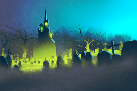 fearful: spooky castle,Halloween concept,cemetery at night,illustration painting