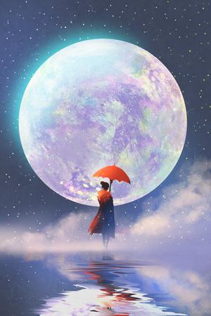 Mujer con el paraguas rojo que se coloca en el agua contra fondo de la luna llena, pintura ilustración