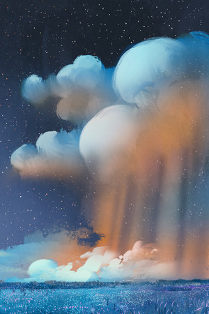 illustration and painting: night scenery of big cumulonimbus clouds over field,landscape,illustration painting Stock Photo