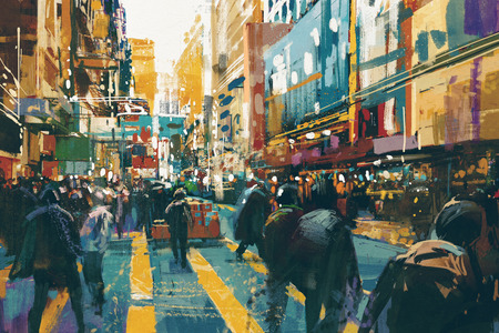 illustration and painting: people walking in colorful of city street,illustration painting