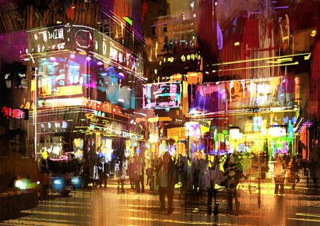 kleurrijk schilderij van de nacht op straat, illustratie, cityscape Stockfoto