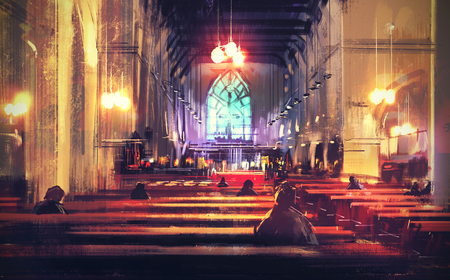 the altar: interior view of a church,illustration,digital painting