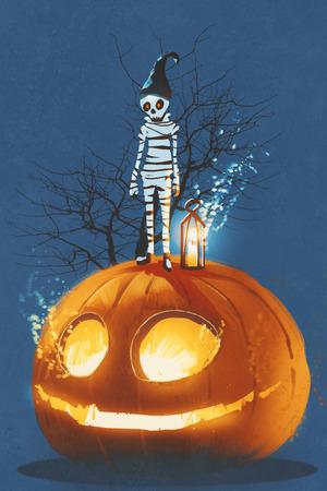 jack o' lantern: mummy standing on giant pumpkin,Jack O lantern,Halloween concept,illustration painting