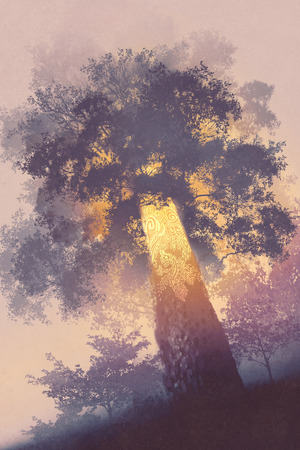 イラスト絵画で光を放つ光と魔法の木