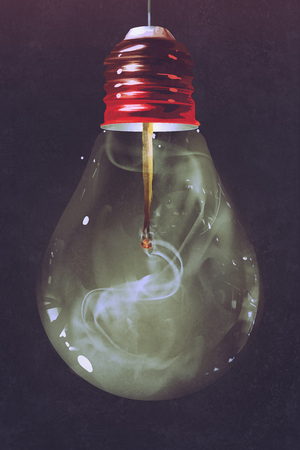 burnt: light bulb with burnt matchstick inside on dark background,illustration painting