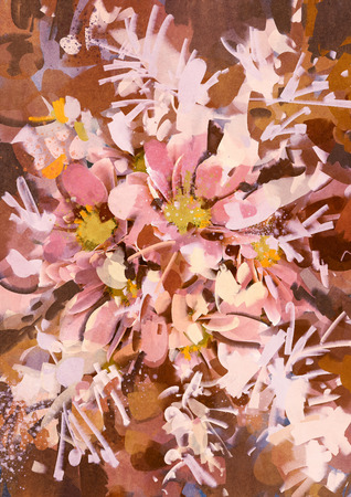 abstract pink flowers with acrylic painting style,illustration