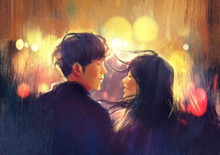 parejas romanticas: joven pareja en el amor al aire libre, ilustración, pintura digital Foto de archivo