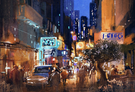 alleys: colorful painting of night street,cityscape,illustration
