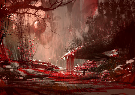 bloodyland,horror landscape, illustration,digital paintng