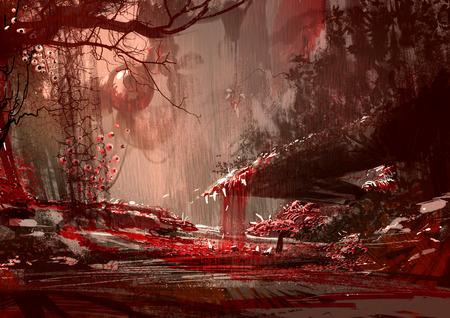 bloodyland, verschrikking landschap, illustratie, digitaal paintng